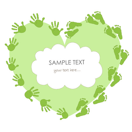 foot print: Baby hand foot print with heart arrival card vector