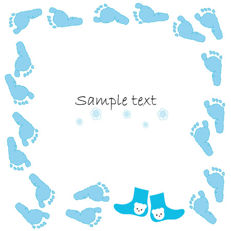 blue shoes: Blue baby shoes baby arrival card vector