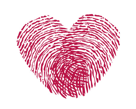 Finger print heart vector
