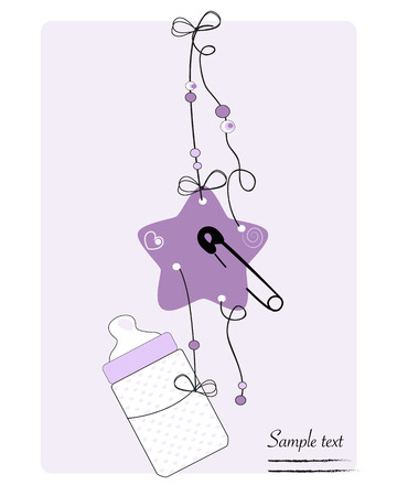 safety pin: Hanging baby bottle, safety pin, star baby arrival card
