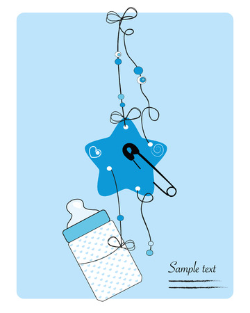 Hanging baby bottle, safety pin, star baby boy arrival card Illustration