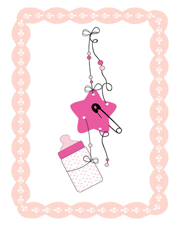 mamma: Hanging baby bottle, safety pin, star baby girl arrival card Illustration