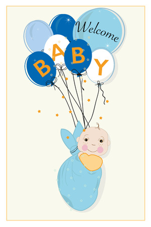 swaddle: Hanging swaddle baby boy arrival card with balloons vector