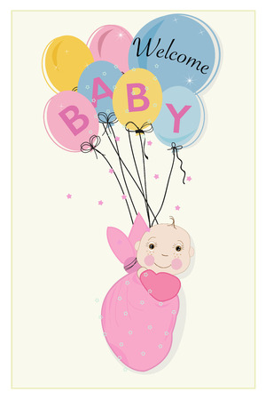 Hanging swaddle baby girl arrival card with balloons vector