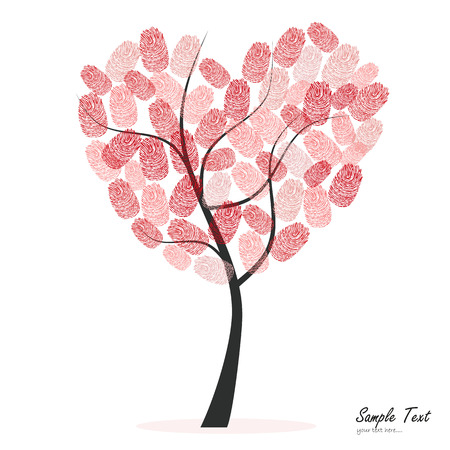 macro: Heart tree with finger prints vector