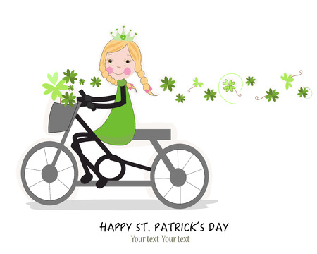 irish cities: Cute girl riding a bicyle with Happy St. Patrick\\