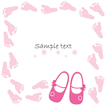 baby shoes: Pink baby shoes baby arrival card vector
