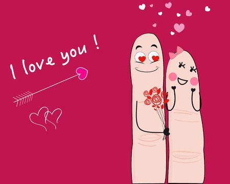romatic: finger, valentine, greeting, card, creative, abstract, romatic, romance, smile, smiley, flower, couple, day, symbol, holiday, family, celebration, women, happy, funny, together