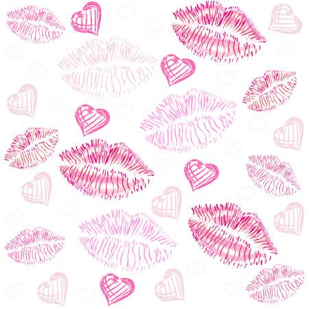 Kiss, lips, hearts vector pattern background Vettoriali