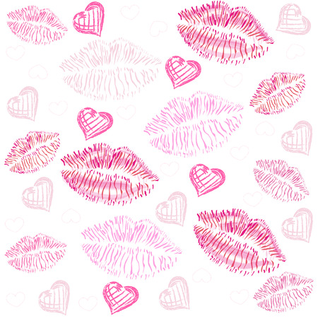 Kiss, lips, hearts vector pattern background Stock Illustratie
