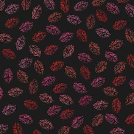 lips kiss: Seamless lips, kiss print illustration pattern Illustration
