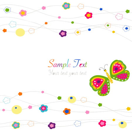 Butterfly with colorful abstract flowers vector background
