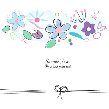 Abstract doodle floral greeting card vector Illustration