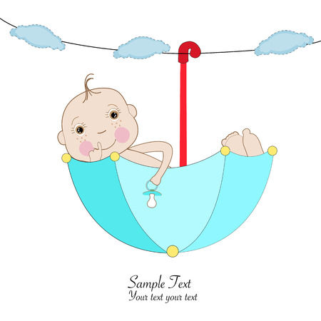 Baby boy greeting card umbrella greeting card Vector