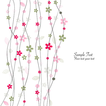 Colorful floral greeting card with simple flowers