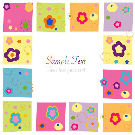 Colorful flowers square border greeting card Ilustração