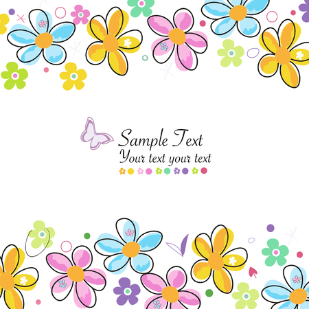 Colorful doodle spring flowers frame greeting card Vector