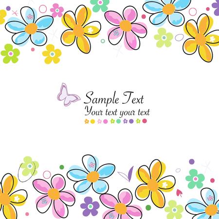 Kleurrijke doodle lentebloemen frame groet kaart