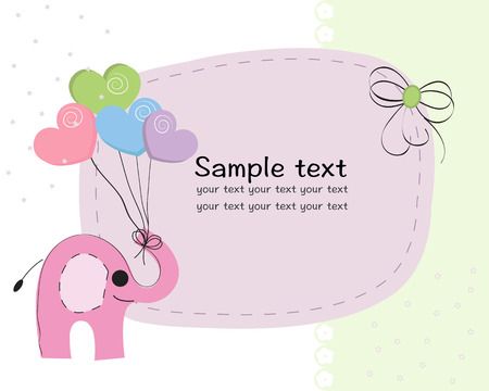 Elephant with colorful balloon baby shower greeting card