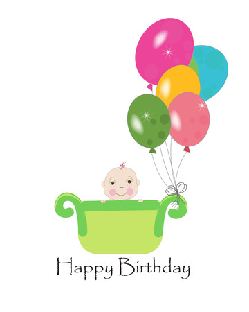 first birthday: Happy first birthday greeting card with balloons