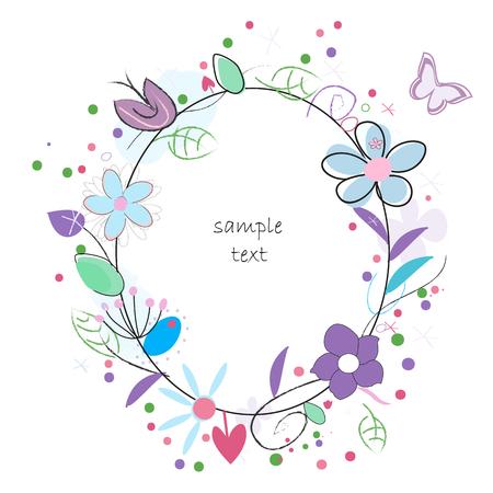 flowers background: Doodle colorido de las flores de primavera fondo