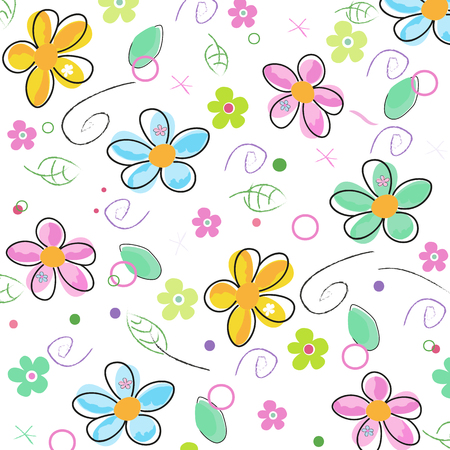 Colorful doodle spring flowers background
