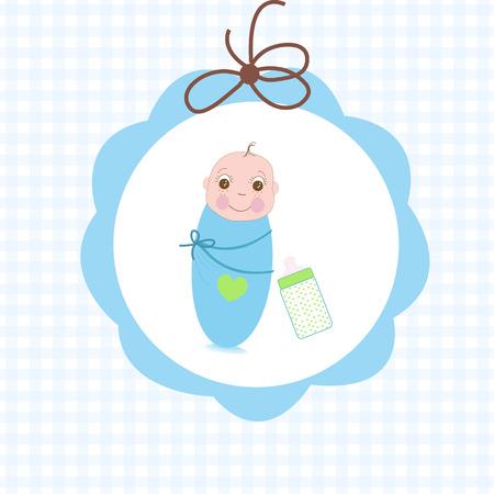 swaddle: Newborn swaddle baby boy with bottle greeting card