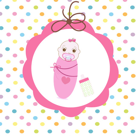 swaddle: Newborn swaddle baby girl with bottle greeting card
