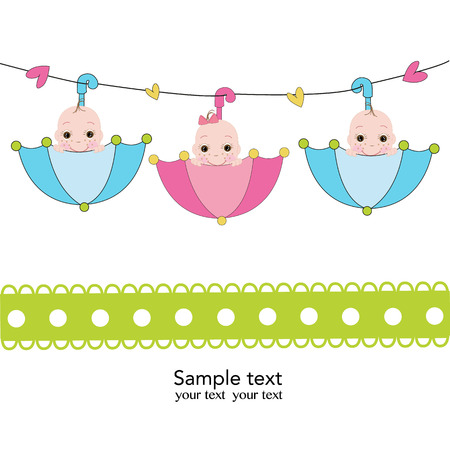 Triplets with umbrella baby shower card Vector