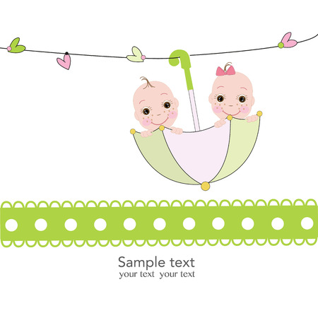Twin baby boy and girl with umbrella baby shower card Illustration