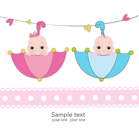 welcome baby: Twin baby boy and girl with umbrella greeting card Illustration