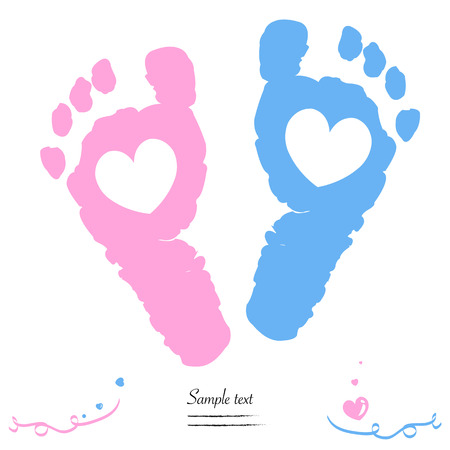 blue prints: Twin baby girl and boy feet prints arrival greeting card vector