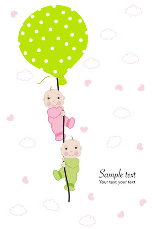 twin: Twin baby hold balloon baby shower greeting card Illustration