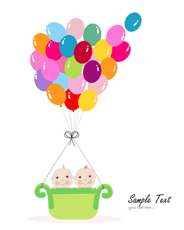 Twin baby with colorful balloon baby shower greeting card Vector
