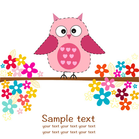 greeting: Cute owl with flowers baby girl shower greeting card