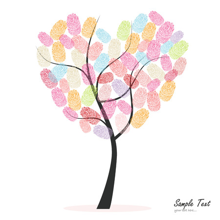 finger prints: Heart tree with colorful finger prints