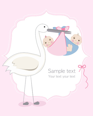 Twin baby girl and boy with stork baby arrival greeting card Illustration