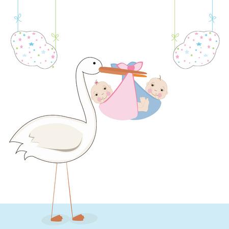 gemelos niÑo y niÑa: Bebé gemela con la cigüeña, vector Tarjeta de llegada del bebé