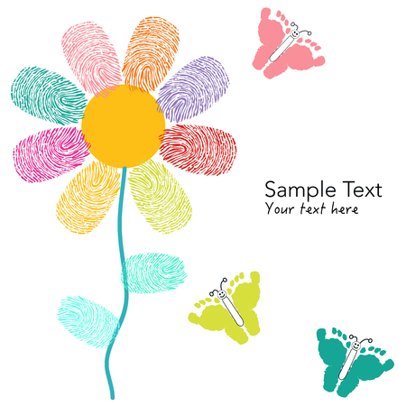 finger prints: Colorful finger prints flower and foot prints butterfly card