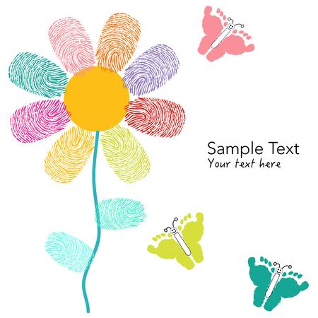 finger prints: Dedo colorido imprime flor y huellas mariposa tarjeta