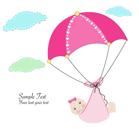 hanging girl: Hanging baby girl with umbrella baby arrival card Illustration