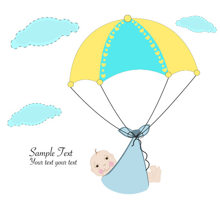arrival: Hanging boy with umbrella baby arrival card
