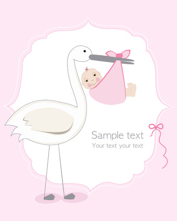 Baby girl with stork, baby arrival card vector
