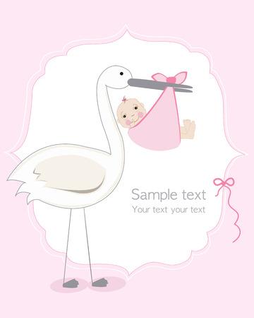Bebé con la cigüeña, vector de la tarjeta la llegada del bebé Foto de archivo - 40260542