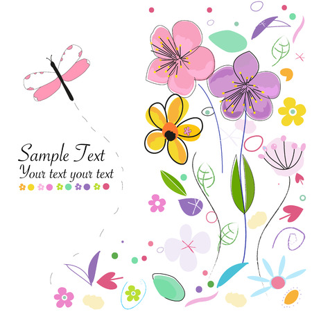 Decorative springtime abstract background greeting card