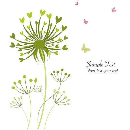 Lentevlinder bloemen paardebloemen wenskaart
