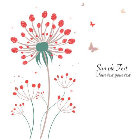 springtime: Springtime floral dandelion greeting card vector