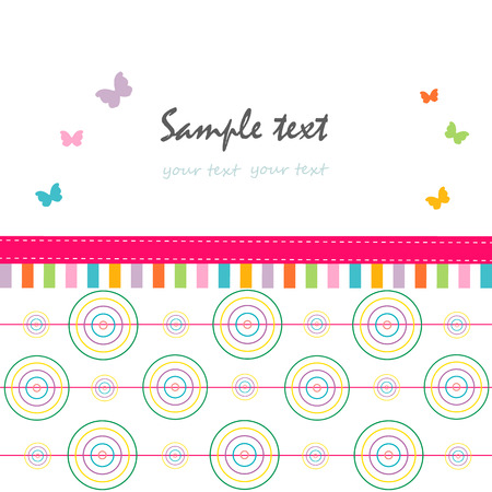 green day baby blue background: Colorful abstract greeting card circle and butterfly