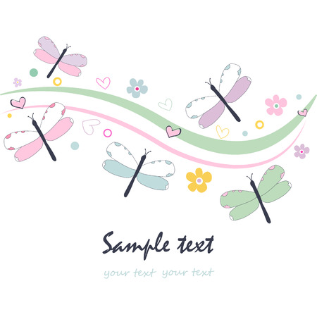 Colorful floral greeting card with dragonfly vector Illustration