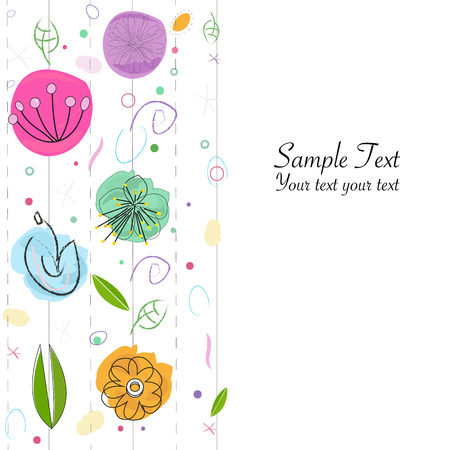 Decorative abstract flowers greeting card Stock Illustratie